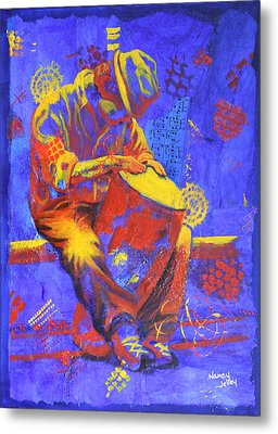 Metal Print featuring the painting Acoustic Blues by Nancy Jolley