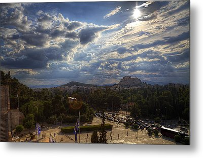 Metal Print featuring the photograph Acropolis From The Kallimarmaro by Micah Goff