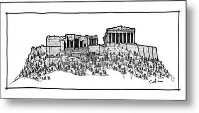 Metal Print featuring the drawing Acropolis Of Athens by Calvin Durham