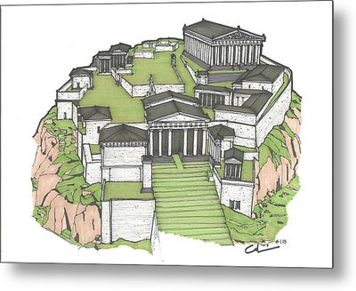 Metal Print featuring the drawing Acropolis Of Athens Restored by Calvin Durham