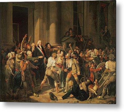 Act Of Courage Of Monsieur Defontenay, Mayor Of Rouen, 29th August 1792 Oil On Canvas Metal Print