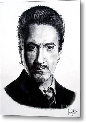 Actor Robert Downey Jr Metal Print by Jim Fitzpatrick