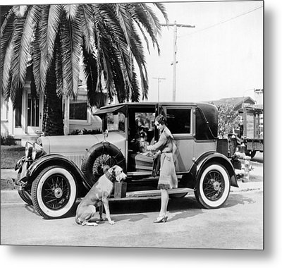 Actress And Dogs Go On Trip Metal Print by Underwood Archives