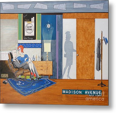 Ad Man Sitting In An Eames With Girl Friday Metal Print by John Lyes
