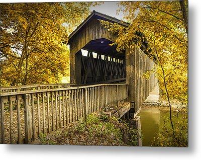 Ada Covered Bridge In Autumn Metal Print by Randall Nyhof