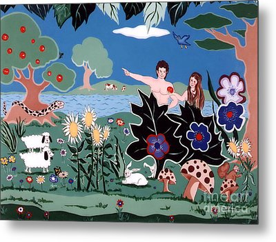 Metal Print featuring the painting Adam And Eve by Joyce Gebauer