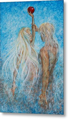Metal Print featuring the painting Adam And Eve  by Nik Helbig