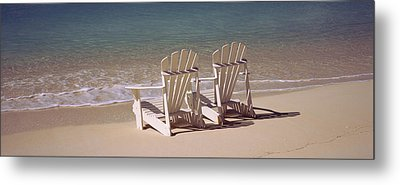 Adirondack Chair On The Beach, Bahamas Metal Print by Panoramic Images
