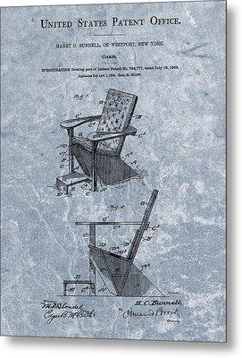 Adirondack Chair Patent Blue Metal Print