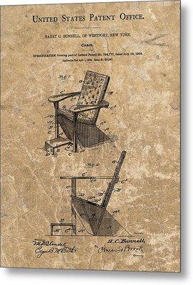 Adirondack Chair Patent Metal Print