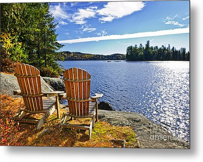 Adirondack Chairs At Lake Shore Metal Print by Elena Elisseeva
