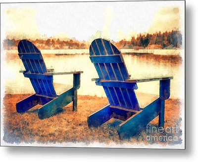 Adirondack Chairs By The Lake Metal Print