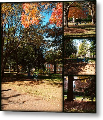 Adirondack Chairs Collage2 Metal Print by Paulette B Wright