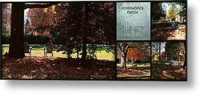 Adirondack Chairs Collage6 Metal Print by Paulette B Wright