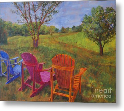 Adirondack Chairs In Leiper's Fork Metal Print by Arthur Witulski