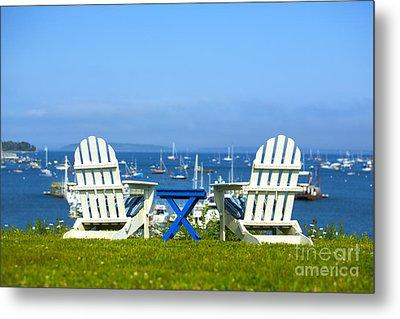 Adirondack Chairs Overlooking The Ocean Metal Print