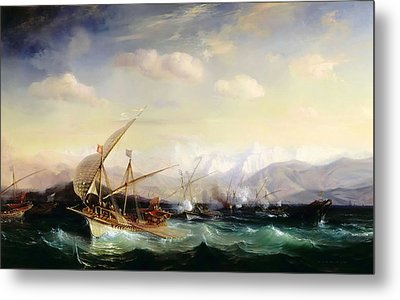 Admiral Andrea Dora Scatters The Spanish Fleet Near Vara Metal Print