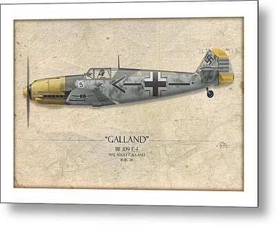 Adolf Galland Messerschmitt Bf-109 - Map Background Metal Print by Craig Tinder