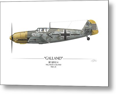 Adolf Galland Messerschmitt Bf-109 - White Background Metal Print by Craig Tinder