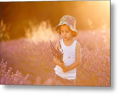 Adorable Cute Boy With A Hat In A Lavender Field Metal Print by Tatyana Tomsickova