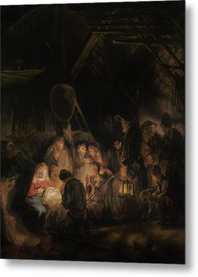 Adoration Of The Shepherds, 1646 Oil On Canvas Metal Print by Rembrandt Harmensz. van Rijn