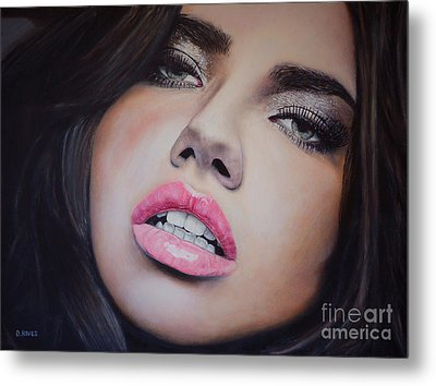 Adriana Lima Oil On Canvas Metal Print