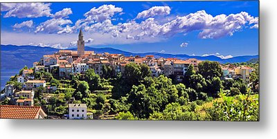 Adriatic Town Of Vrbnik Panoramic View Metal Print