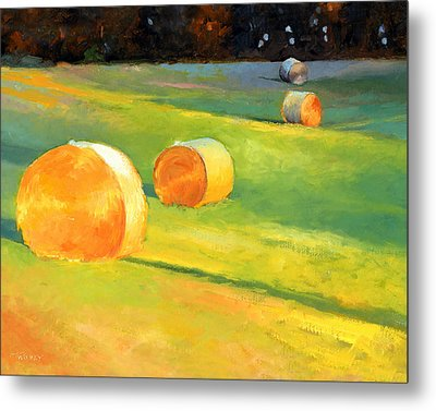 Advance Mills Hall Bales Metal Print by Catherine Twomey