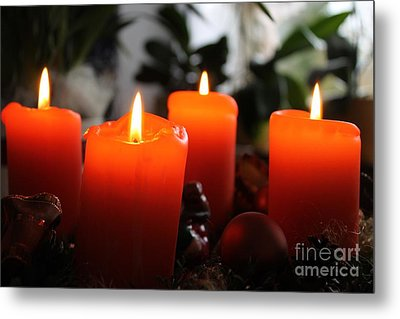 Metal Print featuring the photograph Advent Candles Christmas Candle Light by Paul Fearn
