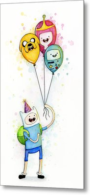 Adventure Time Finn With Birthday Balloons Jake Princess Bubblegum Bmo Metal Print by Olga Shvartsur