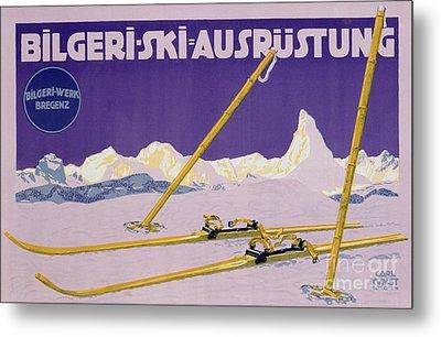 Advertisement For Skiing In Austria Metal Print by Carl Kunst