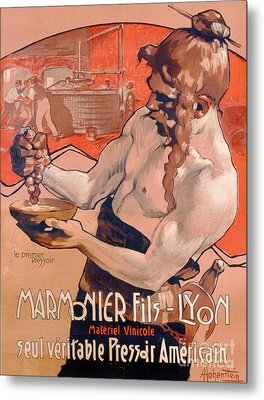 Advertisemet For Marmonier Fils Lyon Metal Print by Adolfo Hohenstein