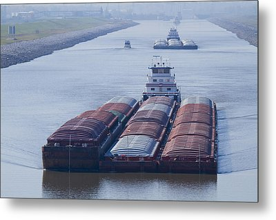 Aep Tow Passing Through The Chain Of Rocks Canal Metal Print by Garry McMichael