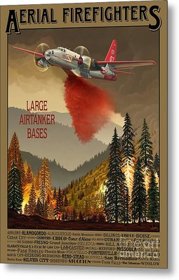 Aerial Firefighters Large Airtanker Bases Metal Print by Airtanker Art