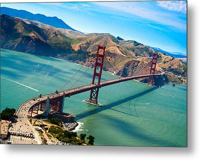 Aerial Golden Gate Bridge Over San Francisco Bay Metal Print by Laura Palmer