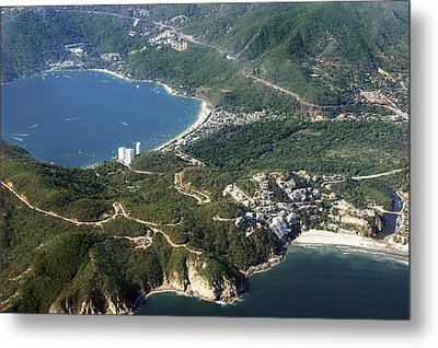 Aerial  Of Acapulco Bay Mexico From Both Sides Metal Print