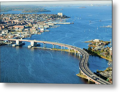 Aerial Of Downtown Portland, Maine Metal Print