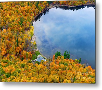 Aerial View Of A Canadian Lake In The Fall Season Metal Print