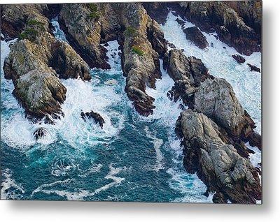 Aerial View Of A Coast, Point Lobos Metal Print