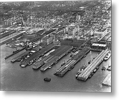 Aerial View Of Brooklyn Docks Metal Print