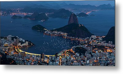 Aerial View Of City From Christ Metal Print