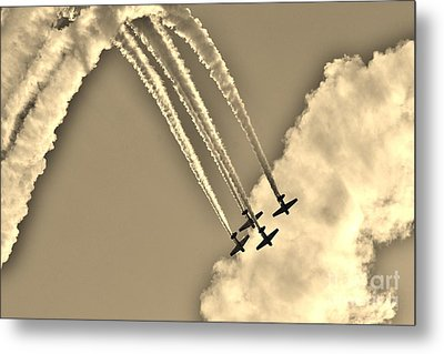 Aeroshell Aerobatic Team In Sepia  Metal Print by Lynda Dawson-Youngclaus