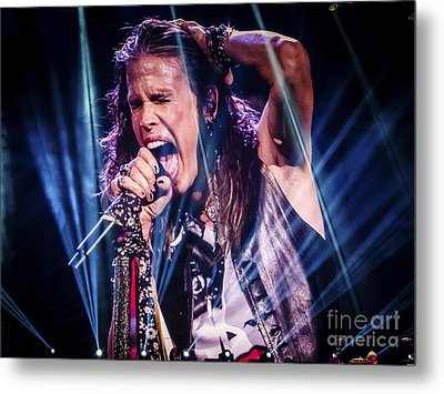 Aerosmith Steven Tyler Singing In Concert Metal Print by Jani Bryson