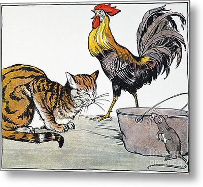Aesop: Cat, Cock, And Mouse Metal Print by Granger