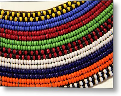 Africa, Kenya Maasai Tribal Beads Metal Print