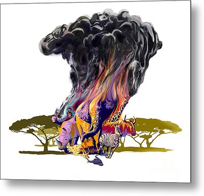 Africa Up In Smoke Metal Print by Sassan Filsoof