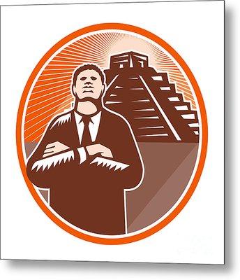 African American Businessman Protect Pyramid Metal Print by Aloysius Patrimonio
