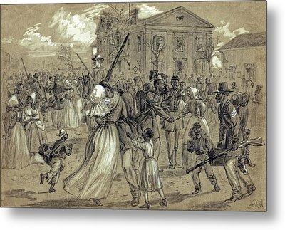 African American Soldiers Return Home From War - 1866 Metal Print by Daniel Hagerman