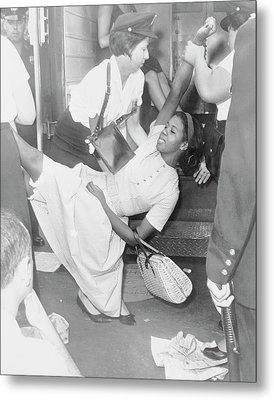 African American Woman Being Carried Metal Print by Stocktrek Images