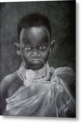 Metal Print featuring the drawing African Boy by James McAdams
